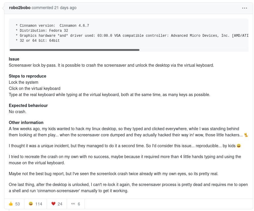 Informe del padre de los niños en GitHub. Foto: GitHub.