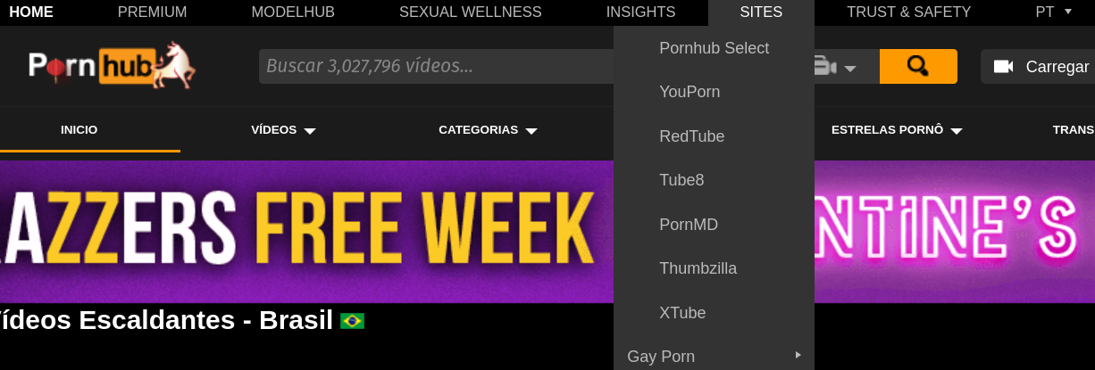 Screenshot of Pornhub home with list of sites in the same group